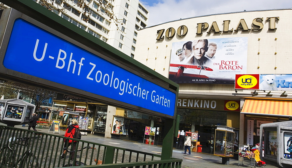 Zoo-Palast Cinema at the tube station Zoologischer Garten, Zoo Station, in the city of Berlin West, Germany, Europe