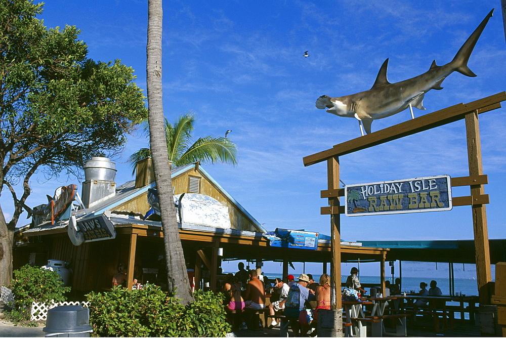 Holiday Isle Resort, decorative hammerhead shark, Key Islamorada, Florida Keys, Florida, USA