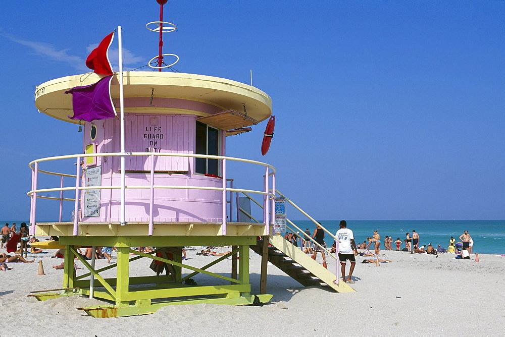 Lifeguard tower at South Beach, Miami Beach, Miami, Florida, USA