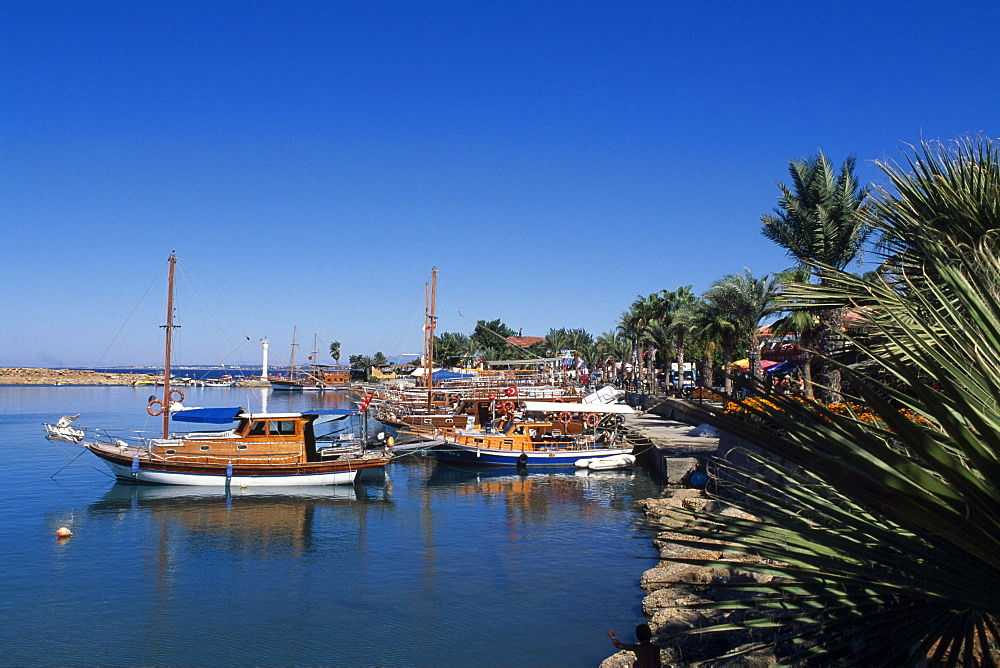 Boats in the harbour of Side, Turkish Riviera, Turkey