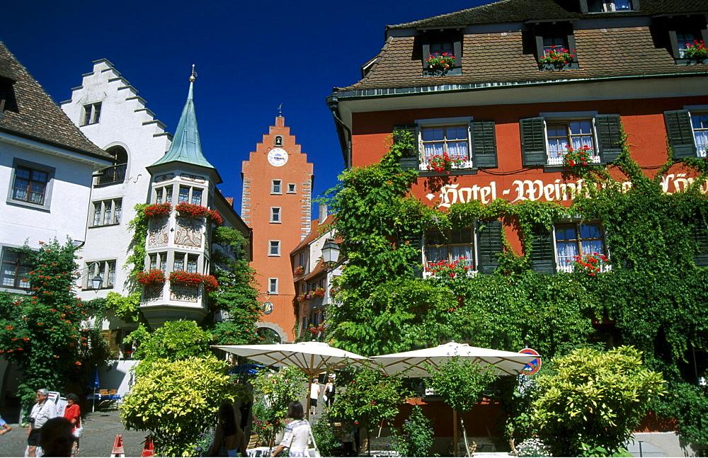 Loewen Hotel and wine restaurant, Meersburg, Lake Constance, Baden-Wuerttemberg, Germany