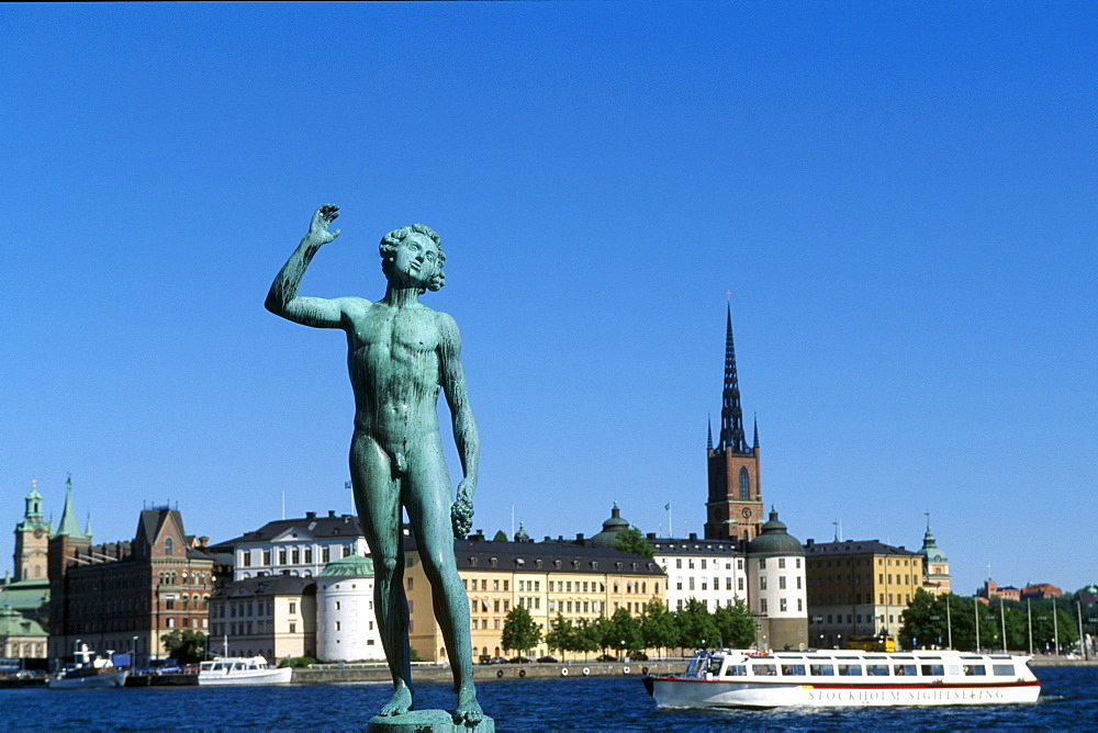Statue, city hall in background, Riddarholmen, Stockholm, Sweden, Scandinavia
