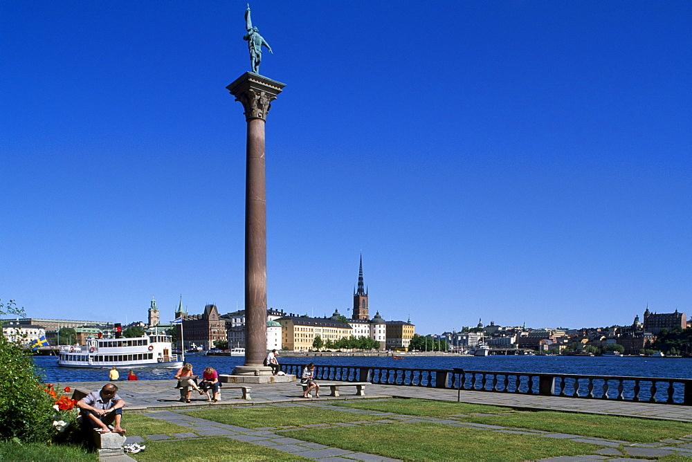 Column, city hall in background, Riddarholmen, Stockholm, Sweden, Scandinavia