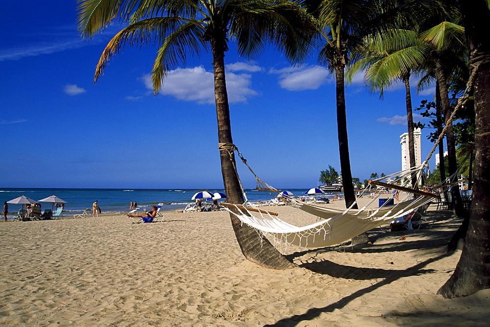 Hammock on Isla Verda Beach, San Juan, Puerto Rico, Caribbean