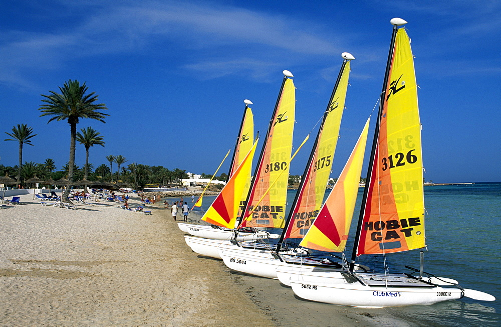 Catamarans on the beach, Club Med Djerba La Douce, Djerba, Tunisia, Africa