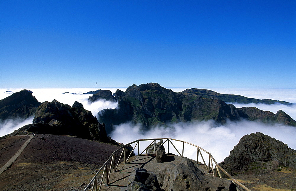 View of Mount Pico do Arieiro from Mount Miradouro do Juncal, Madeira, Portugal, Europe