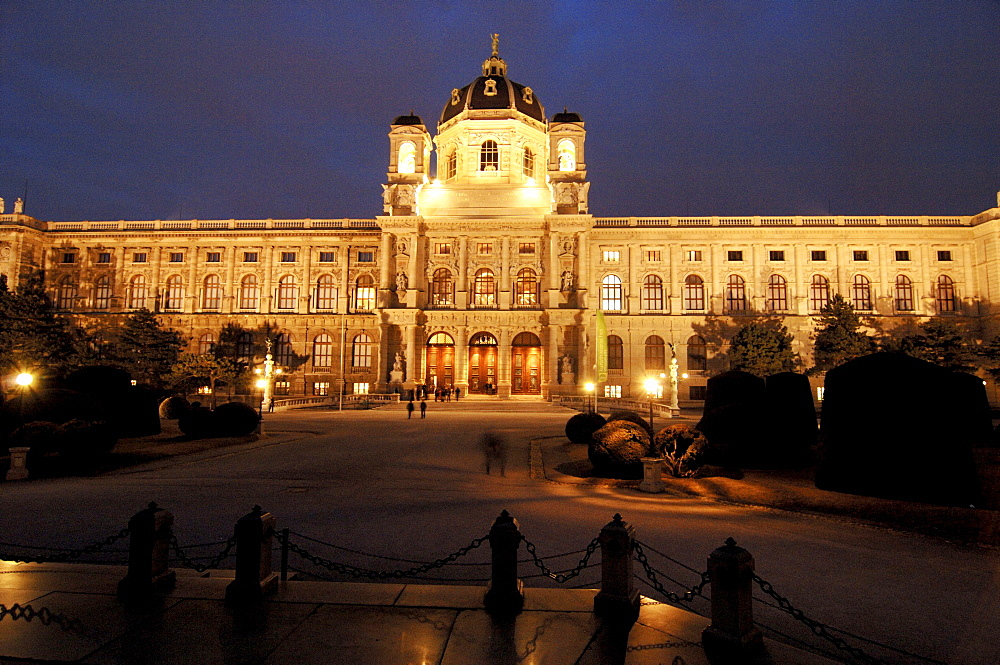 Naturhistorisches Museum (Museum of Natural History) at night, Vienna, Austria