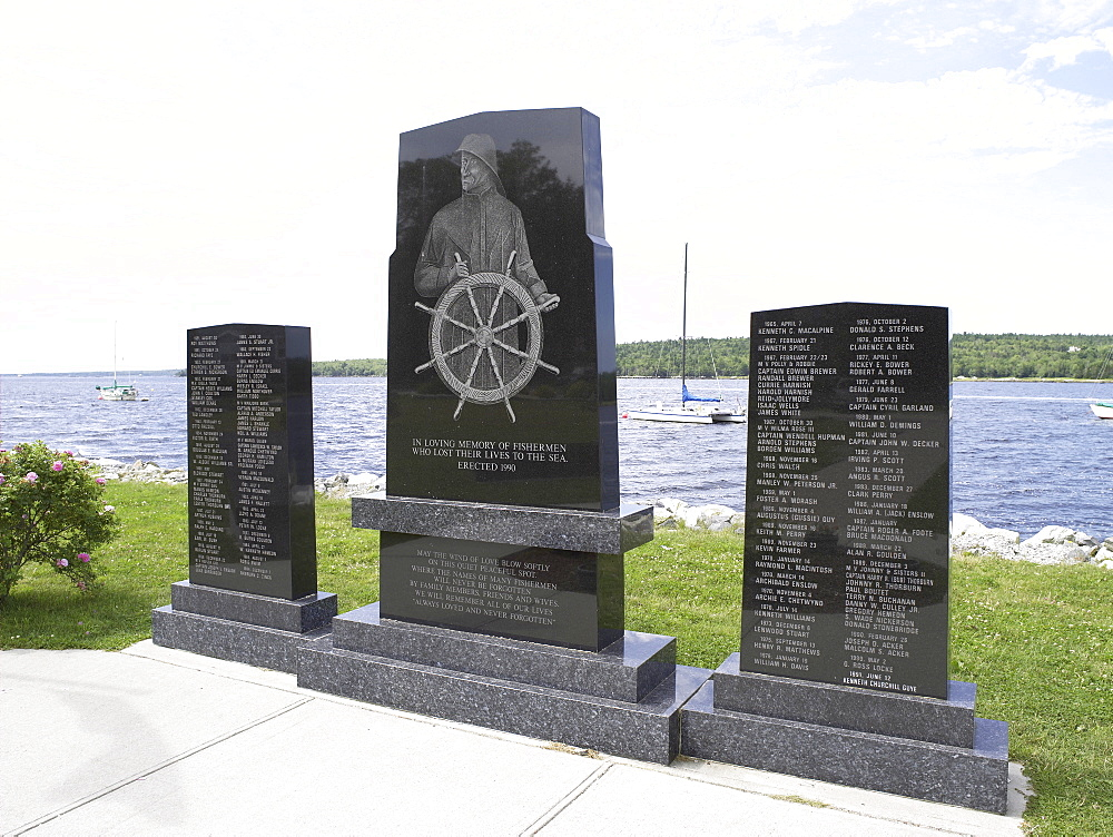Monument on the historic waterfront of Shelburne, Nova Scotia, Canada
