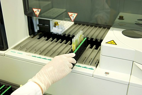 Hand in a sterile glove placing trays in a large piece of clinical equipment in a laboratory