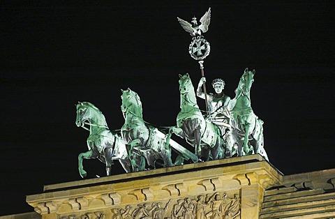 Illuminated sculpture Quadriga at Brandenburger Tor, Berlin, Germany