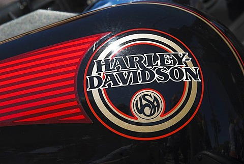 "Writing ""Harley Davidson"" on the fuel tank of a Harley Davidson motorbike"