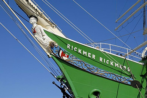 Bow and figurehead of historic sail ship Rickmer Rickmers at Hamburg Harbour, Hamburg, Germany