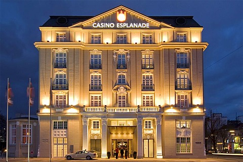 Casino Esplanade, new gambling house of Spielbank Hamburg Company at dusk, Hamburg, Germany