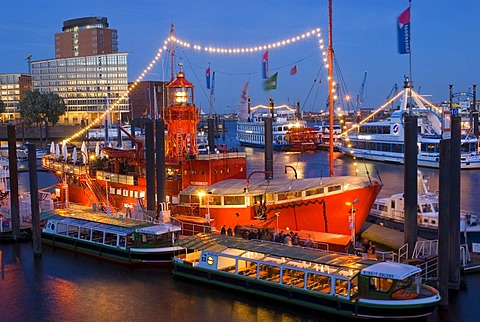 Light vessel LV13 at Hamburg Harbour at dusk, Hamburg, Germany