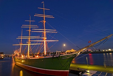 Historic sail ship Rickmer Rickmers at Hamburg Harbour at dusk, Hamburg, Germany