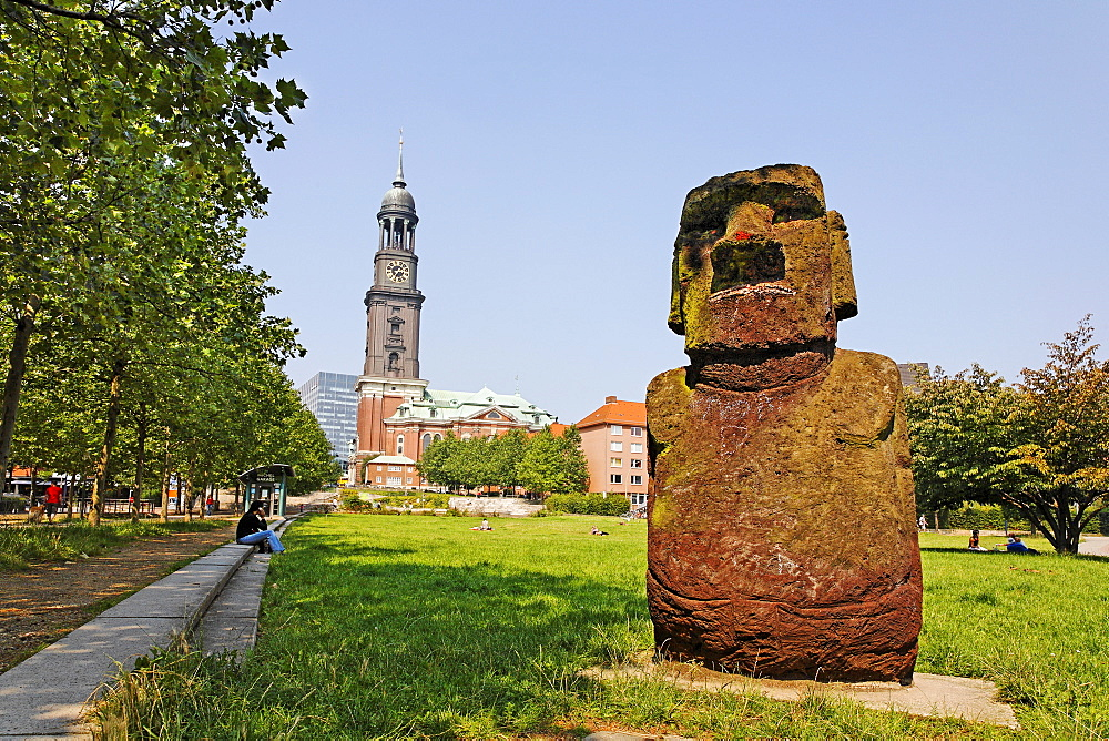 Angelito - replication of Moai Statue from Easter Island at Schaarmarkt, Hamburg, Germany