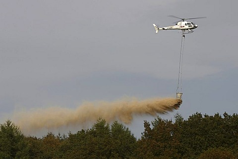 Chalking woods with a helicopter, the most important method to stop or slow down the souring of the soil