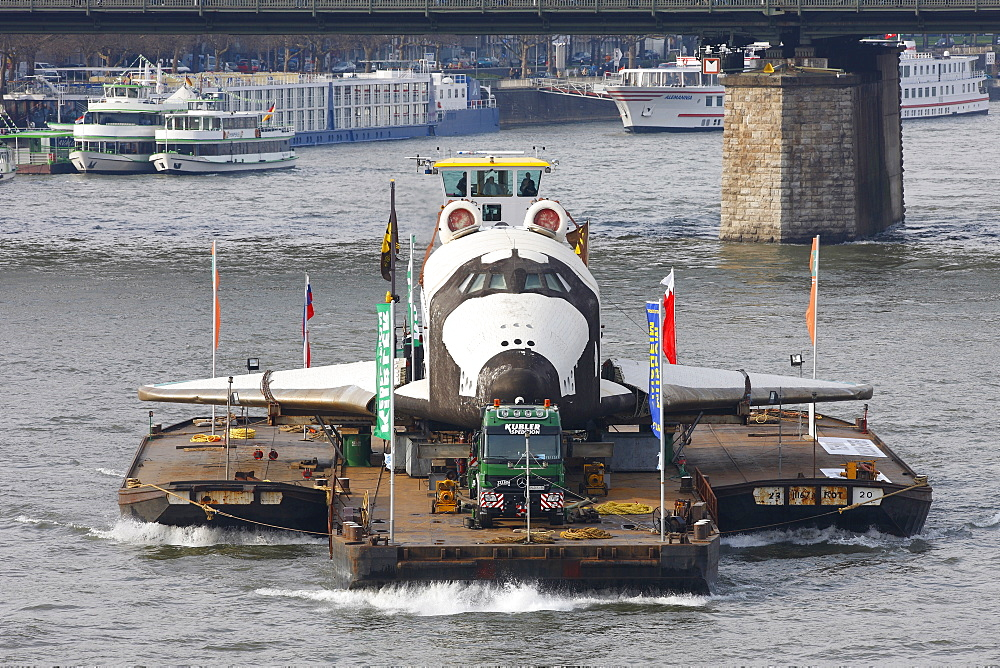 Russian space shuttle, space ship Buran on the Rhine on its way from Rotterdam to Speyer, Cologne, North Rhine-Westphalia, Germany, Europe