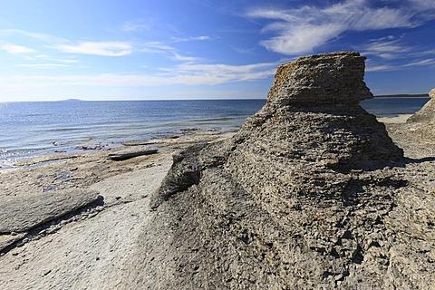 Rauken von Byrum, freestanding sandstone pillars washed out by the sea, Byrum, Oeland, Kalmar County, Sweden, Scandinavia, Europe