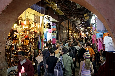 Tourists in a souk in the old part of town, Mrrakech, Morocco