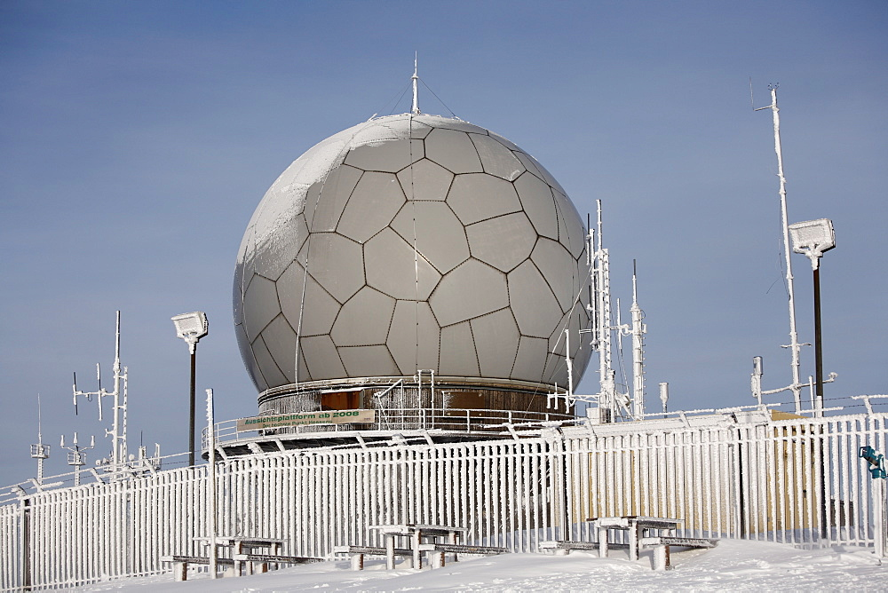 Radar dome (radome), Mt. Wasserkruppe, Rhoen Mountains, Hesse, Germany, Europe