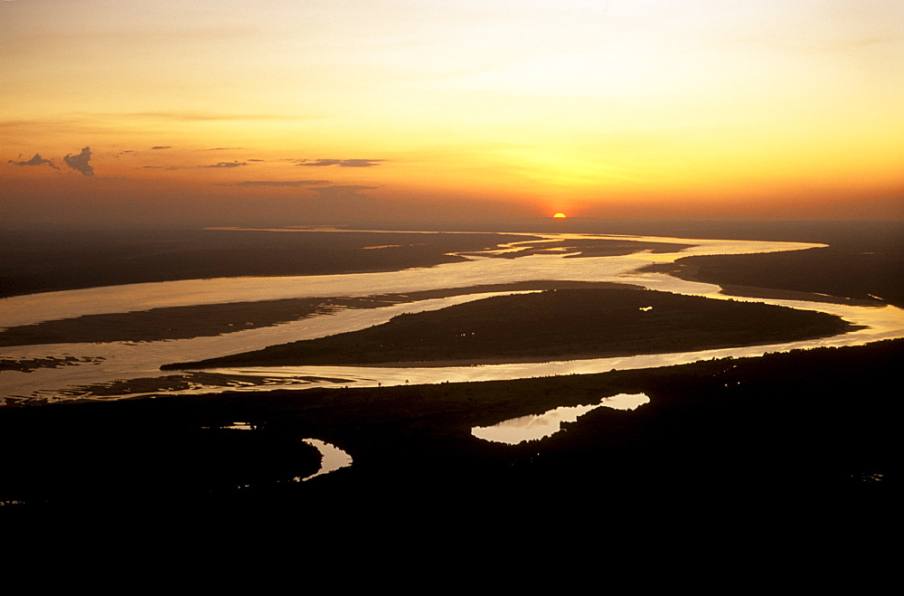 Aerial shot of the Orinoco River near Ciudad Bolivar, Venezuela, South America