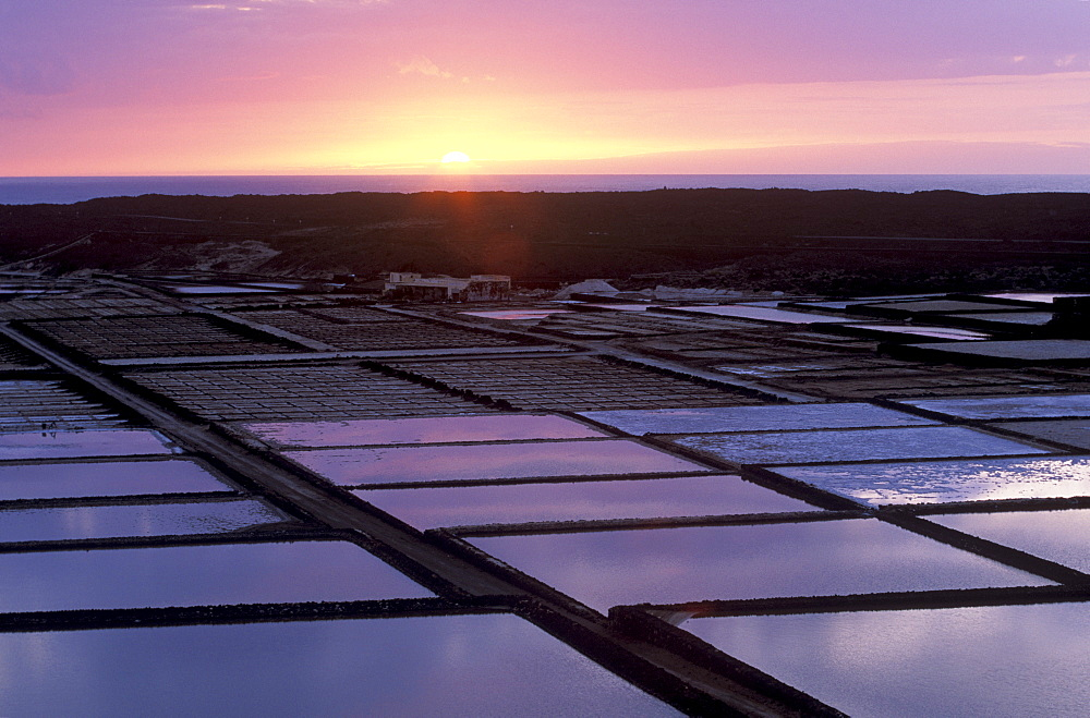 Salinas de Janubio, salines at sunset, Lanzarote, Canary Islands, Atlantic Ocean, Spain, Europe