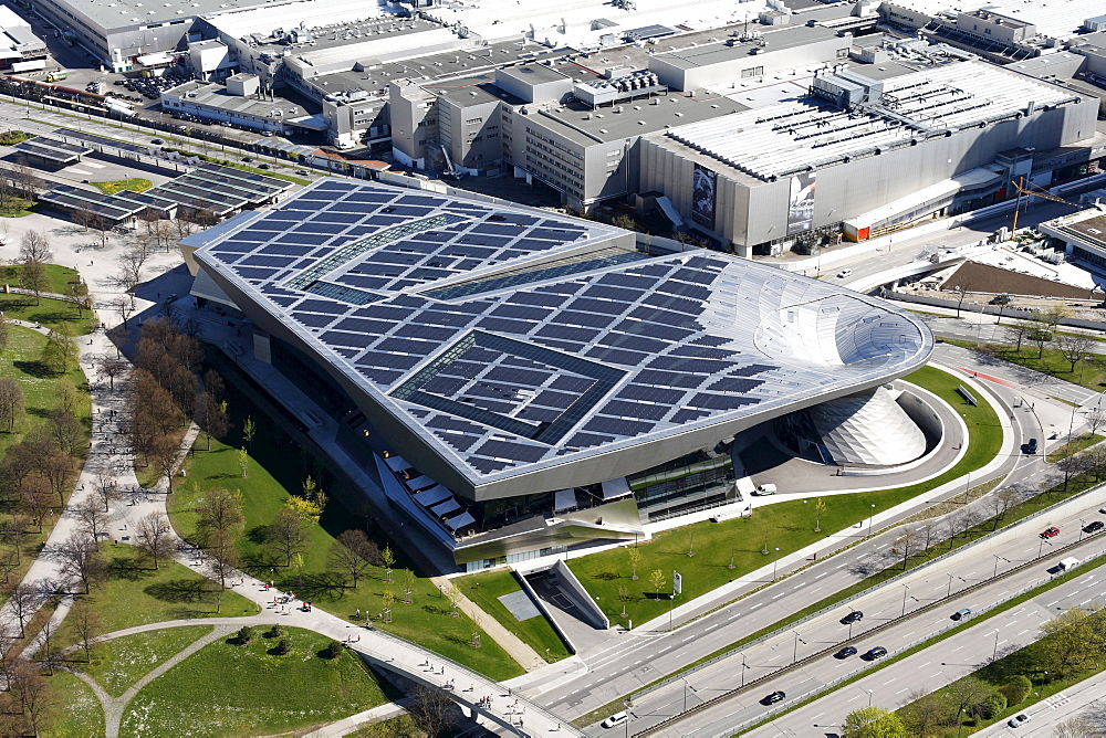 BMW World from Olympia TV tower, solar power system, Munich, Bavaria, Germany, Europe