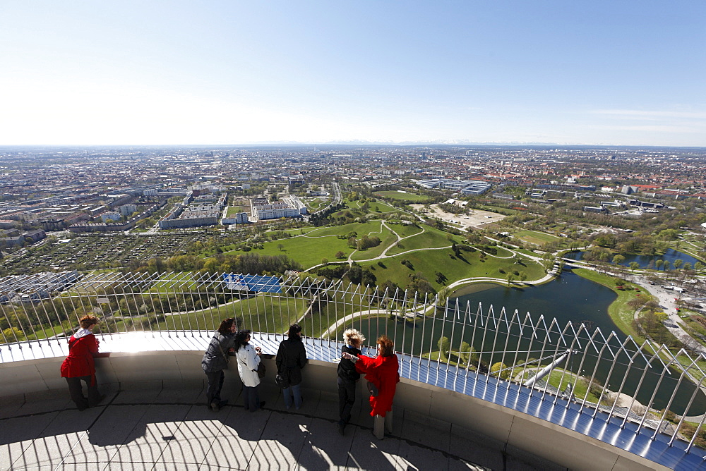 Tourists on the lookout deck of the Olympia TV tower, Munich, Bavaria, Germany, Europe