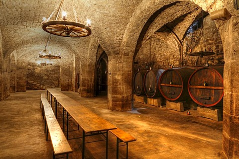 Wine cellar beneath the town hall in Hammelburg, Rhoen, Bavaria, Germany, Europe