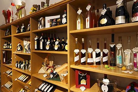 Wine bottles in a wine store, winemaker's cellar in Rote Schloss Castle, Hammelburg, Rhoen Mountains, Lower Franconia, Bavaria, Germany, Europe