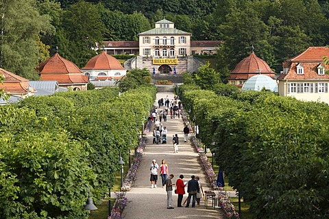 Kurpark, state baths in Brueckenau, view toward Hotel Restaurant Bellevue, Bad Brueckenau, Rhoen Mountains, Lower Franconia, Bavaria, Germany, Europe