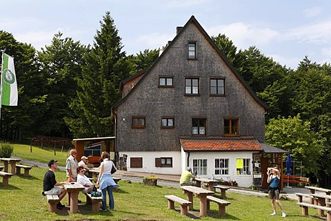 Wuerzburger Haus hotel and restaurant, Schwarze Berge, Rhoen, Lower Franconia, Bavaria, Germany, Europe