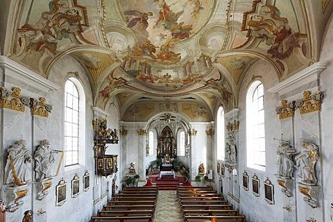 St. Peter und Paul Parish Church in Stoetten am Auerberg, interior view, Allgaeu, Swabia, Bavaria, Germany, Europe