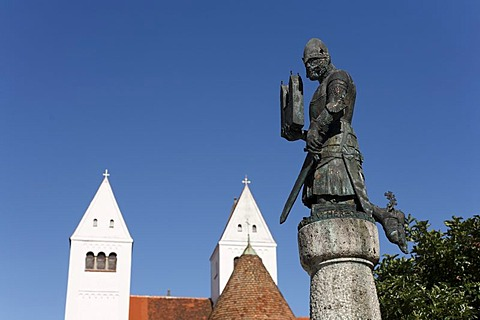 Memorial to Herzog Welf VI., the founder of the abbey, in front of the abbey church in Steingaden, Pfaffenwinkel, Upper Bavaria, Germany, Europe