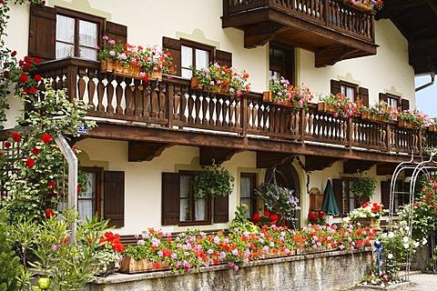 Farm house with geraniums in Neustadl near Ruhpolding, Chiemgau, Upper Bavaria, Germany, Europe