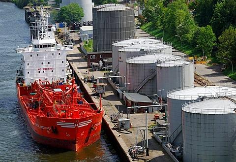 Tanker landing at fuel depot, Kiel, Schleswig-Holstein, Germany