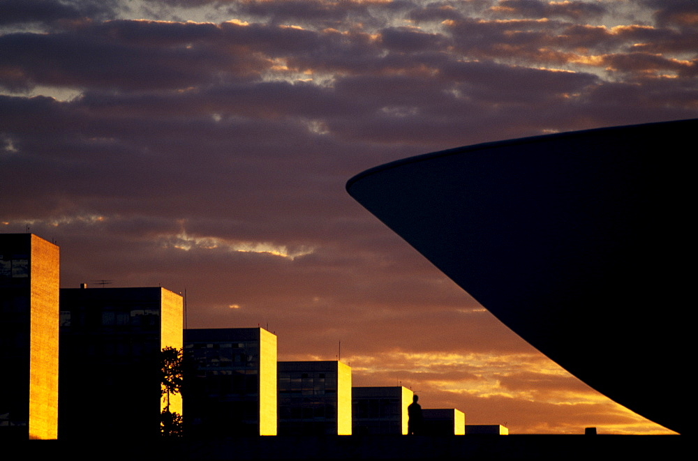 Brazilian Parliament building at dusk, Brasilia, Distrito Federal, Brazil, South America