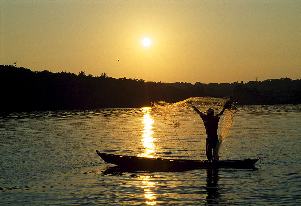Fisherman on the Amazon, Amazonas State, Brazil, South America - 832-326924