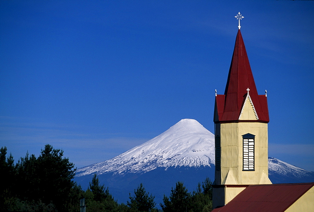 Church in front of Osorno Volcano, Patagonia, Lake District, Chile, South America