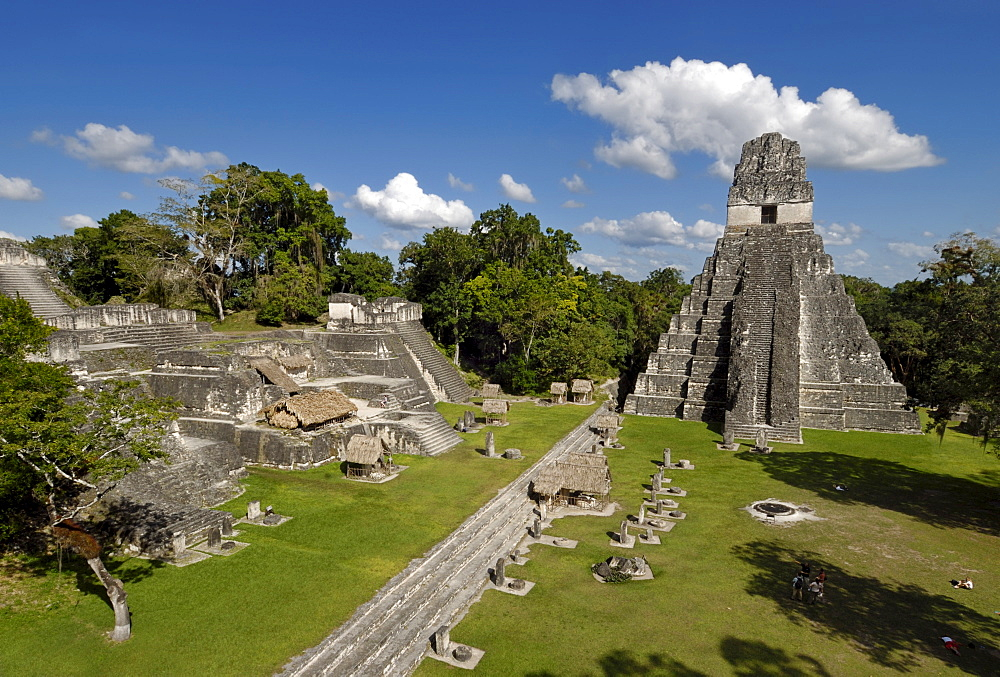Tikal, Mayan ruins, view from Temple II toward Temple I, Temple of the Giant Jaguar, and the Gran Plaza, Yucatan Peninsula, Guatemala, Central America