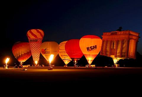 Hot-air balloons, Night Glow of the Balloons, Balloon Sail, Kiel Week 2008, Kiel, Schleswig-Holstein, Germany, Europe