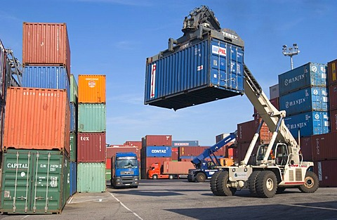 Freight Container being loaded onto truck in Neuss Harbour, Germany