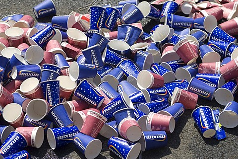 Paper cup rubbish after a marathon race