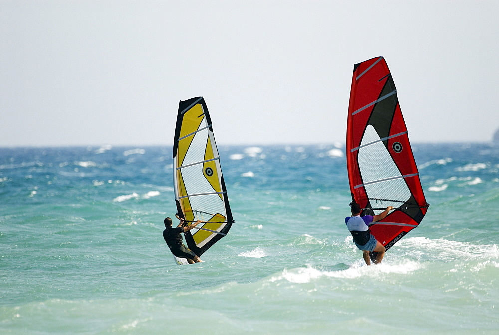 Windsurfers, Mediterranean coast, Spain