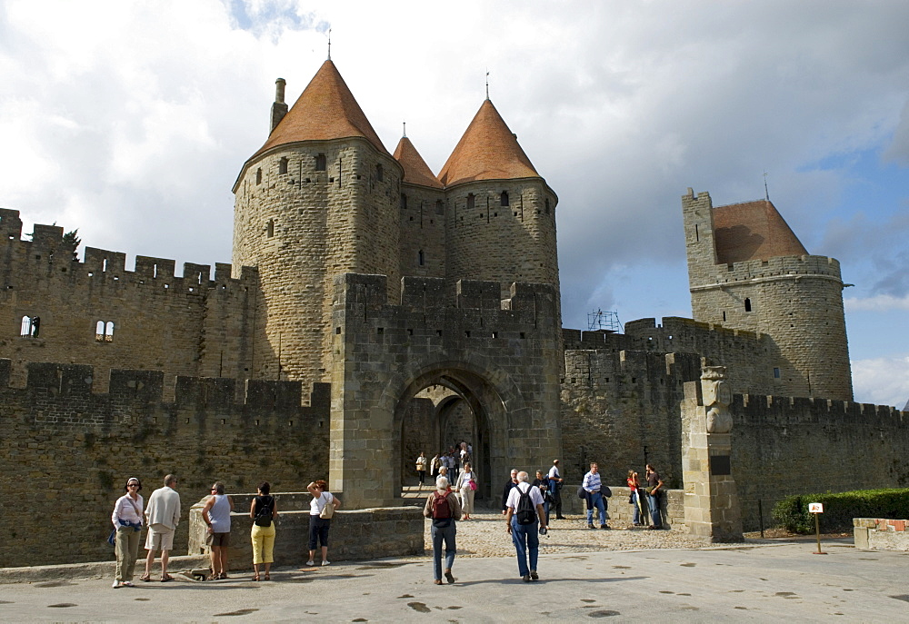 Porte Narbonnaise, city gate in Carcassonne, France