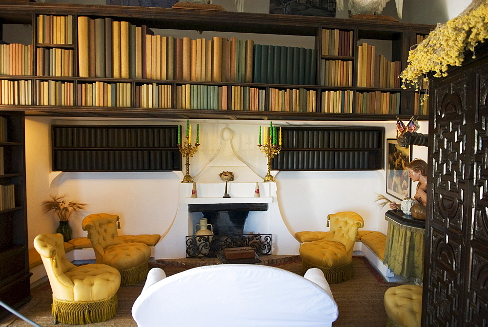 Library in the summer house of surrealist painter Salvador Dali and his wife Gala in Port Lligat, Girona Province, Spain