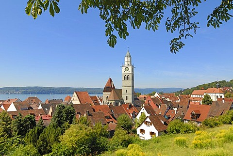 A view over the old part of town from Ueberlingen - Baden Wuerttemberg, Germany, Europe.