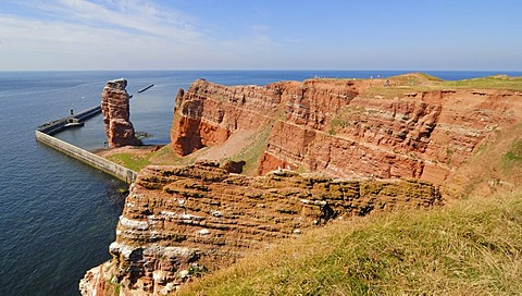 Heligoland - a view over the red sedimentary rocks and the lange Anna - Schleswig-Holstein, Germany, Europe.