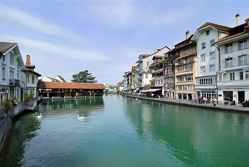 Aare River quay, Thun, Canton of Berne, Switzerland, Europe
